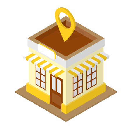 Building location isometric illustration with shop and location pin