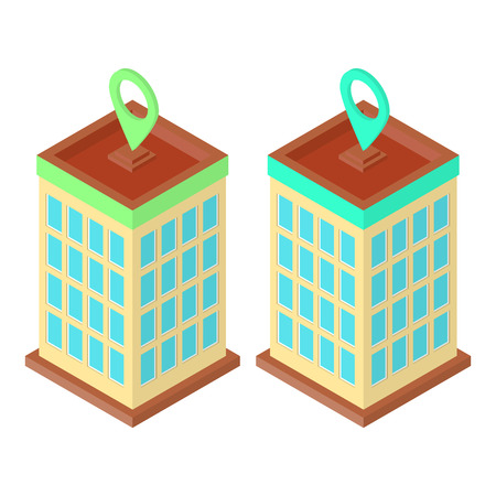 Skyscraper location set, two buildings with location pins