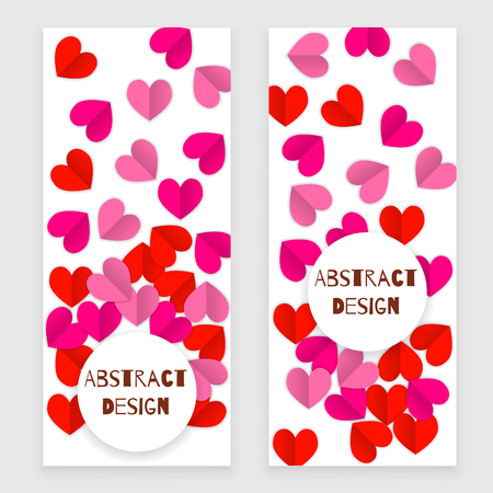 Valentine day set of banners with heart, red and pink
