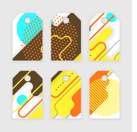 Paper tags design, vector abstract concept with rounded corners Illustration