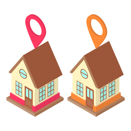 Home location concept, set with two modern buildings and location pins Illustration
