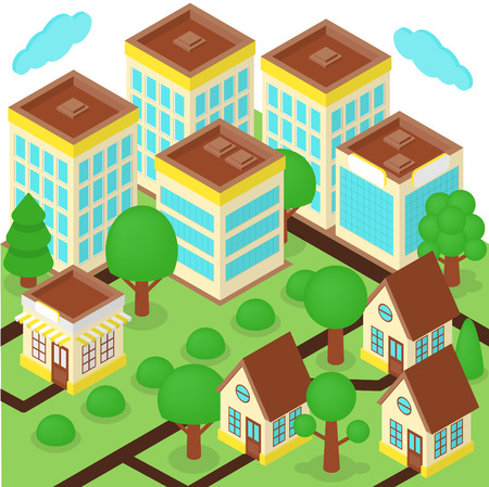 megapolis: Isometric city with skyscrapers, roads, trees and houses Illustration