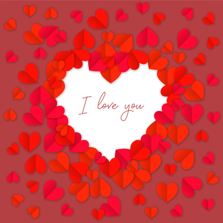 I love you background with hearts paper cutout