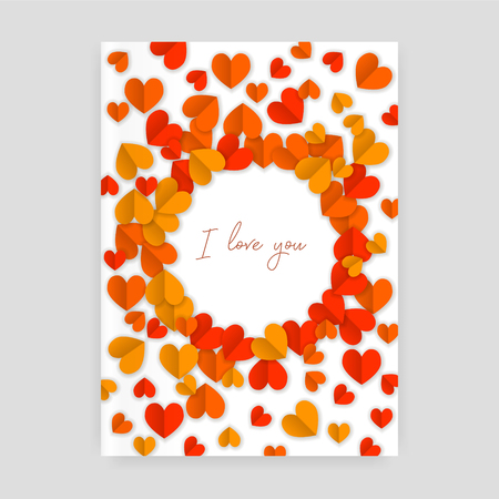 I love you postcard with hearts paper cutout Illustration