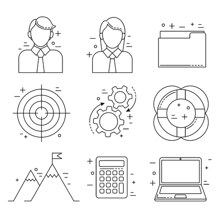 woman laptop: Business icons, thin line design in finance and marketing field