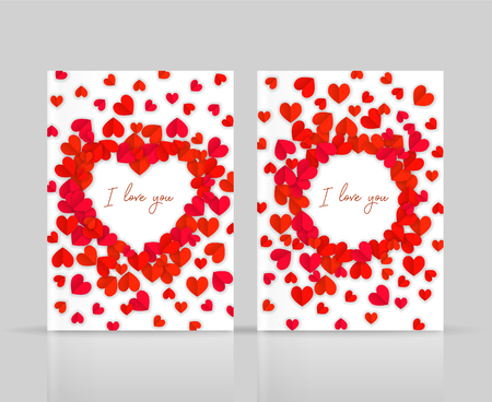 I love you postcards set with hearts paper cutout, brochure layout