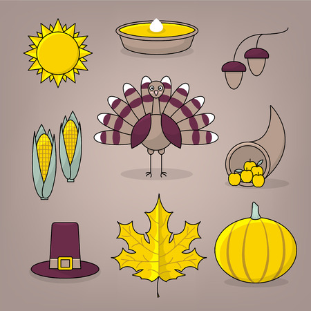 happy family: Thanksgiving icons with turkey, pumpkin pie, settlers hat and cornucopia