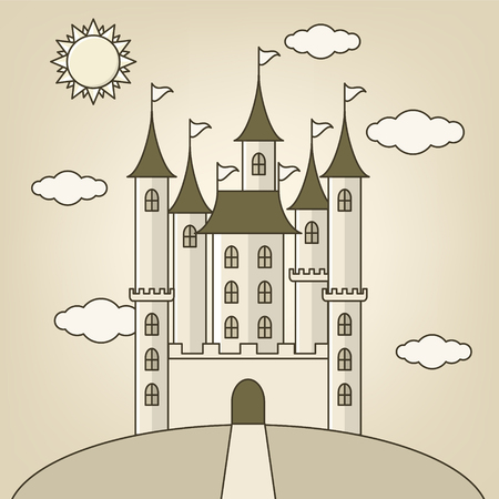 royal person: Castle of princess with  clouds and sun, doll design