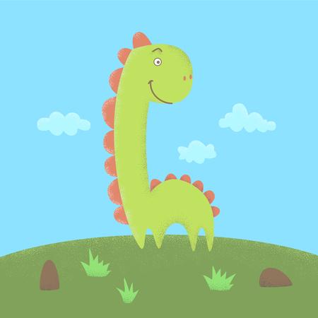 Dinosaur flat illustration with dot work Illustration