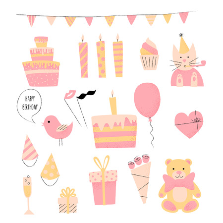 Birthday Retro Icon Set With Present Cake And Cat Happy Celebration Vector