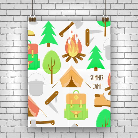 Camping poster, illustration with campfire, tent and backpack Illustration