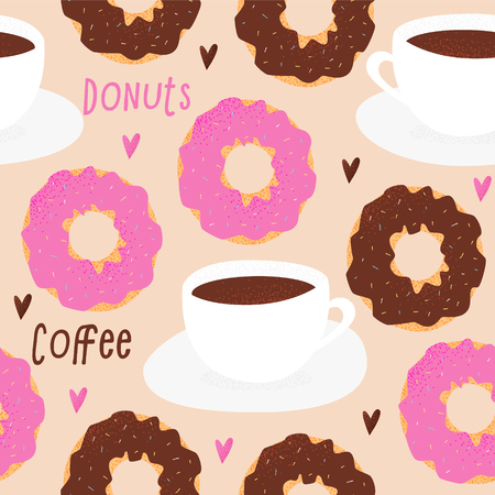 Donut and tea cup design, love concept with hearts seamless pattern