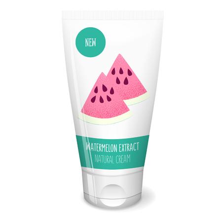 Watermelon fresh slice on white tube, cosmetics cream