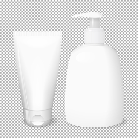 White bottle and tube templates, cosmetics vector concept, mockup. Иллюстрация