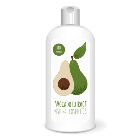Shampoo bottle with avocado, white mockup, 3D design concept