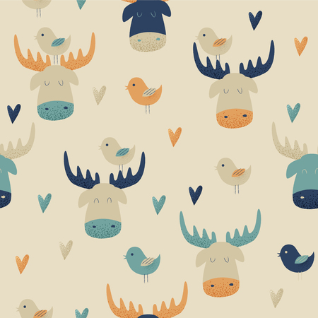 Moose, vector seamless pattern with hearts and birds Ilustração