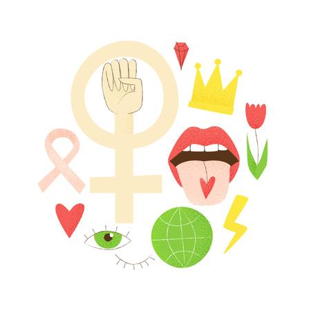 Girl power, vector feminist design, hand drawn concept Illustration