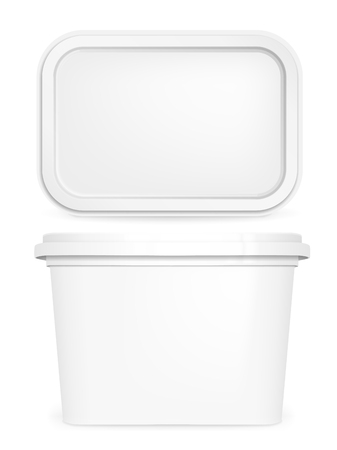 Butter box, white vector mock up, 3d container template.