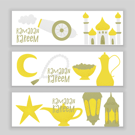 Ramadan kareem, vector muslim design, golden lanterns and mosque. Vettoriali