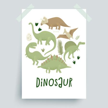 Dinosaurs vector design, tyrannosaurus rex, triceratops and diplodocus.