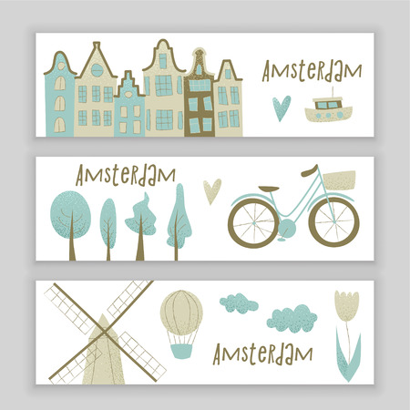 Amsterdam vector design with houses, windmill, tulip and hot air balloon.