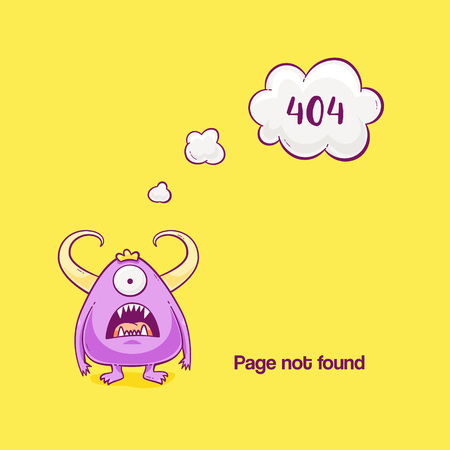 404 error with monster, vector cute illustration