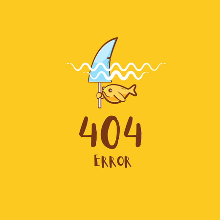 404 error with gold fish pretending to be a shark, vector cute illustration