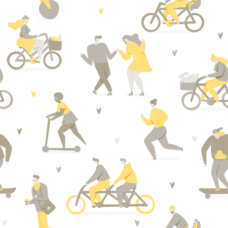 People riding bicycle in park, skateboard and scooter illustration