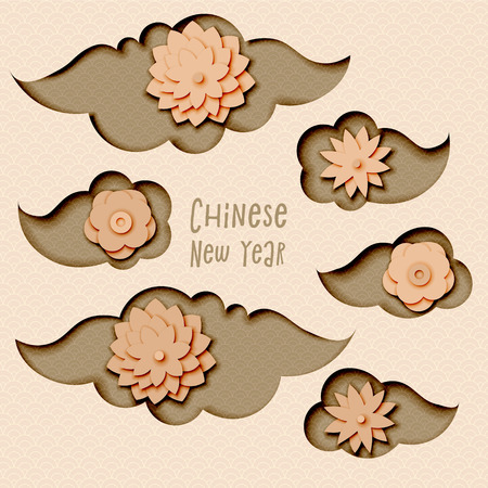 Chinese New Year 2019, vector design with paper cut clouds and flowers