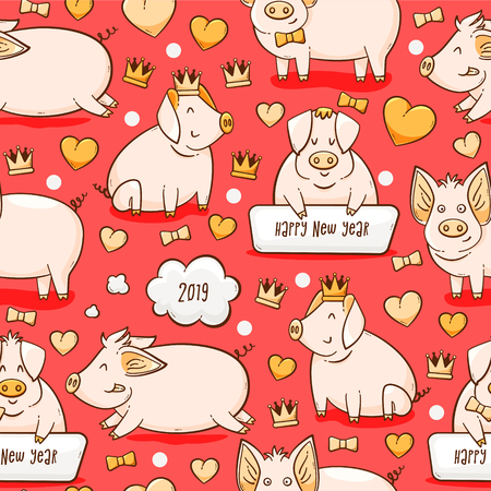 Pig, Chinese New Year symbol of 2019, vector seamless pattern