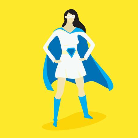 Superhero woman, vector illustration, fiction character design
