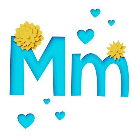 Paper cut letter M with flowers, realistic 3d vector design