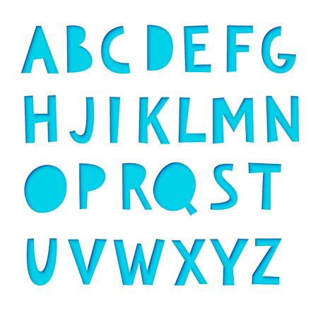 Paper cut font, realistic 3d vector design Illustration