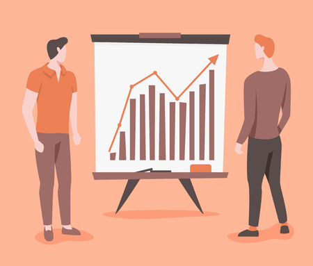 Business growth vector illustration with graph and two man Vectores