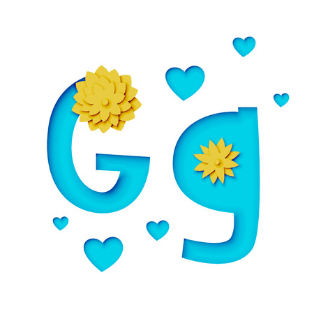 Paper cut letter g with flowers, realistic 3d vector design