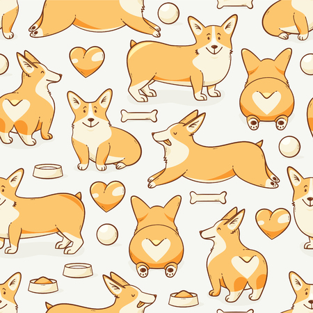 Welsh corgi dog, vector seamless pattern with a heart Illustration