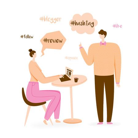 Blogger illustration, millennial influencer concept, leader of opinion
