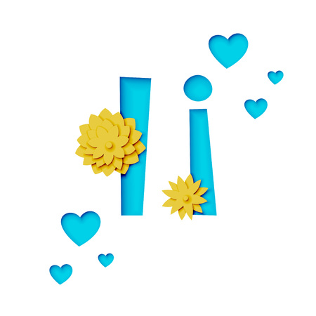 Paper cut letter i with flowers, realistic 3d vector design Illustration