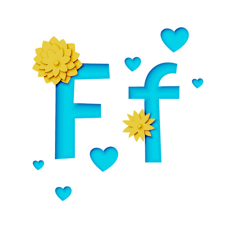 Paper cut letter f with flowers, realistic 3d vector design