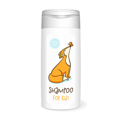 Shampoo bottle, white mockup with fox, 3D design concept for kids