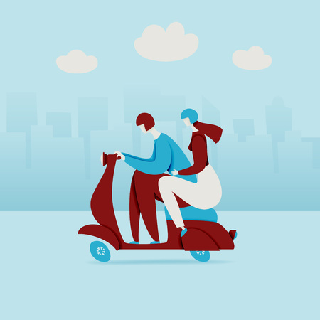 Couple in city, riding scooter with the urban background