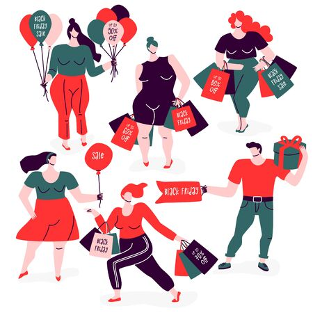 Black Friday poster with people. Women and men carry shopping bags, balloons, tags and presents. Sales and discounts illustration. Flat design concept.