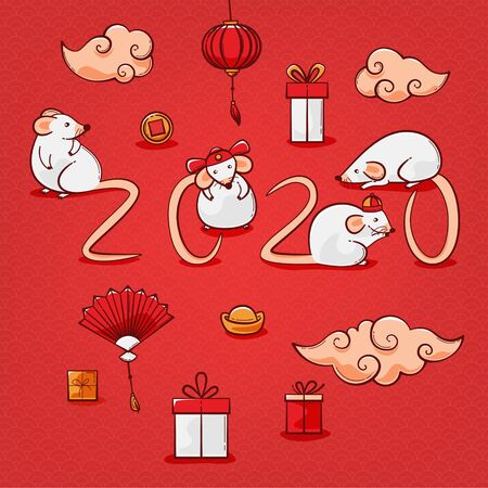 Rat 2020 illustration, Chinese New Year vector design with mice