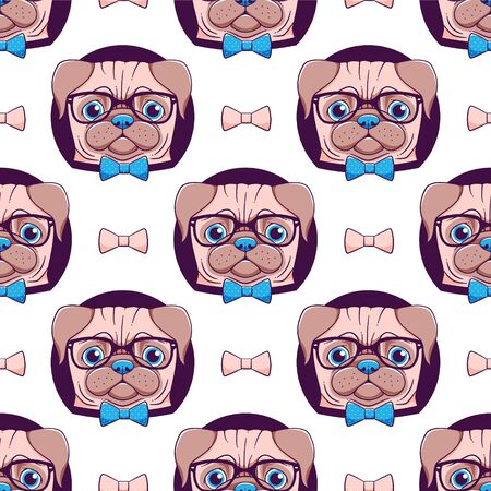 Pug vector seamless pattern, hipster designed dog in glasses and bow tie Illustration