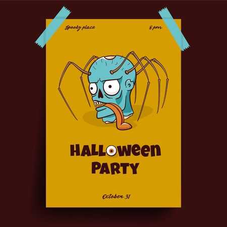 Halloween party poster, scary design of zombie with spider's legs