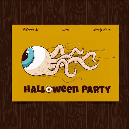 Halloween party poster, scary design of eye with the worm tentacles Illustration