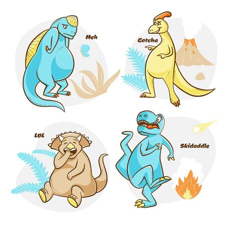 Dinosaur design with t-rex being scared, laughing triceratops, vector illustrations Illustration