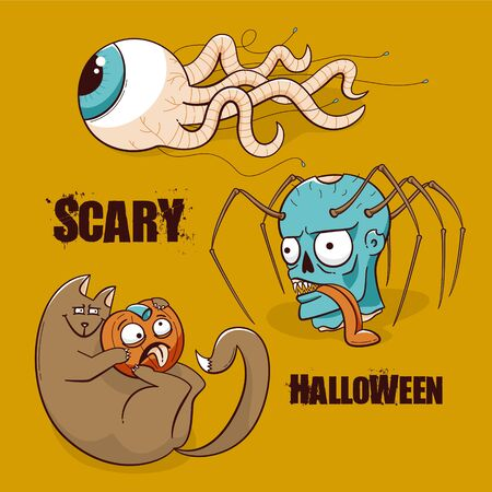 Halloween party poster, scary design of zombie, cat and pumpkin, eye with the worm tentacles Illustration