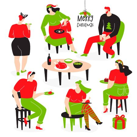 Christmas design with people. Family celebrates Christmas together with Christmas attributes, festive party. Illustration