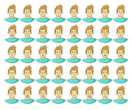 Man emotions set. Illustration